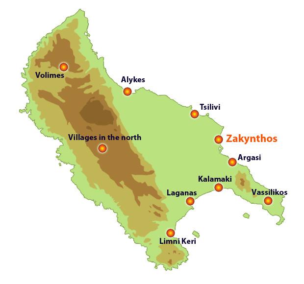 Map Of Zante Zakynthos   Traditional towns and tourist resorts Map Of Zante